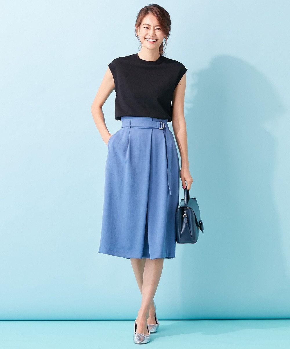 組曲 【イージーケア】リネンライクセットアップ タックスカート ブルー系