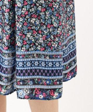 組曲 【洗える】パネルフラワープリント スカート ブルー系5