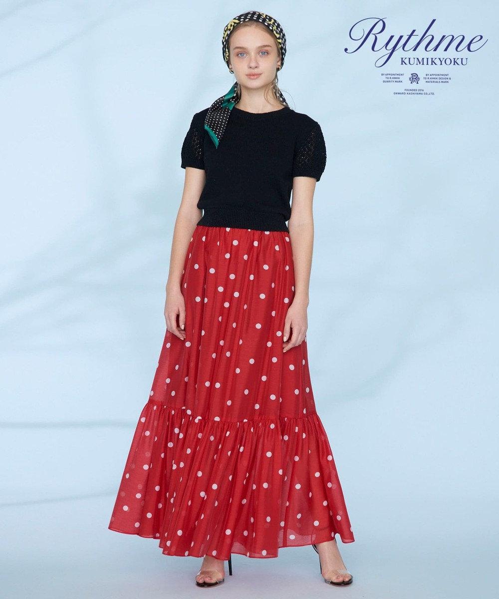 組曲 【Rythme KUMIKYOKU】ランダムドットプリントボイルスカート レッド系5