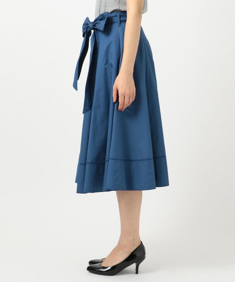 組曲 【Rythme KUMIKYOKU】ハイカウントサテン スカート ブルー系