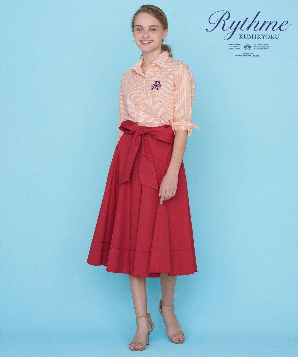 組曲 【Rythme KUMIKYOKU】ハイカウントサテン スカート レッド系