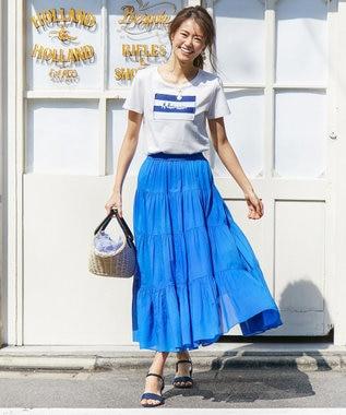 組曲 L 【新色追加!】エアリーボイルティアードスカート ブルー系