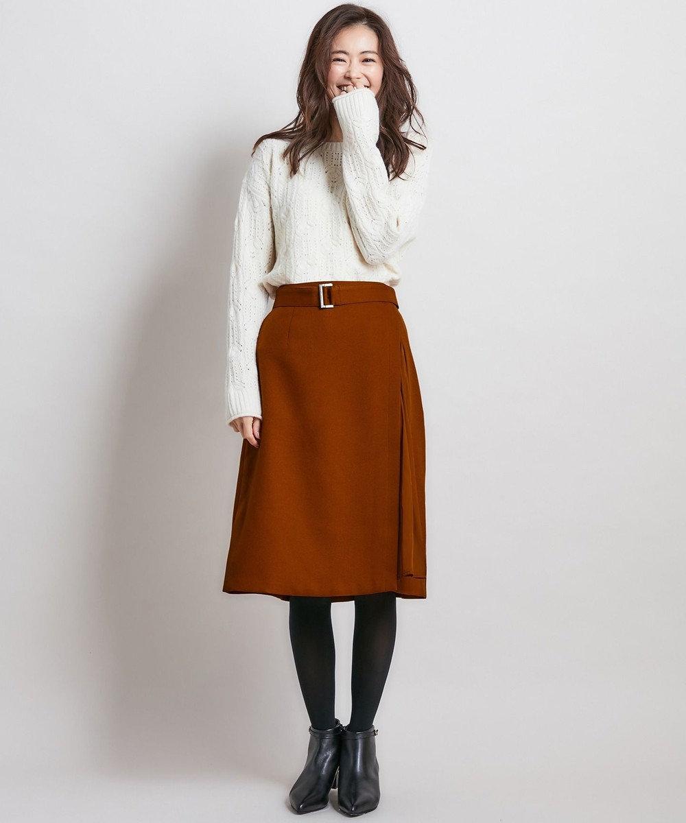 組曲 S 【洗える】ウールライクツイル スカート [WEB限定]ブラウン系