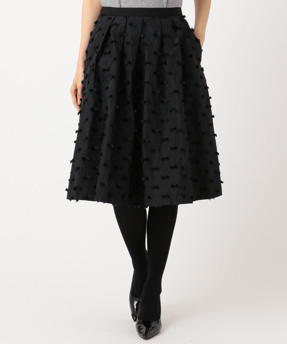 組曲 L 【KUMIKYOKU×JUN OKAMOTO】リボンカットジャガードタフタ スカート ブラック系