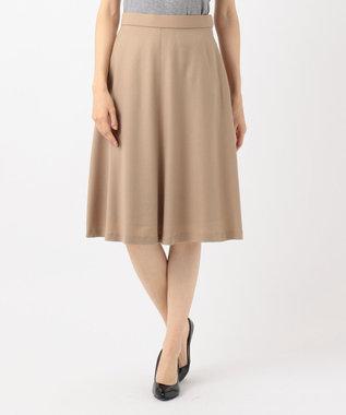 組曲 【洗える】ウールハイカウントフラノ フレアスカート キャメル系
