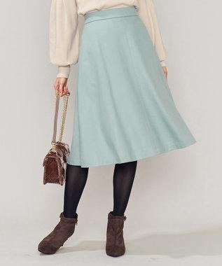 組曲 【洗える】ウールハイカウントフラノ フレアスカート サックスブルー系