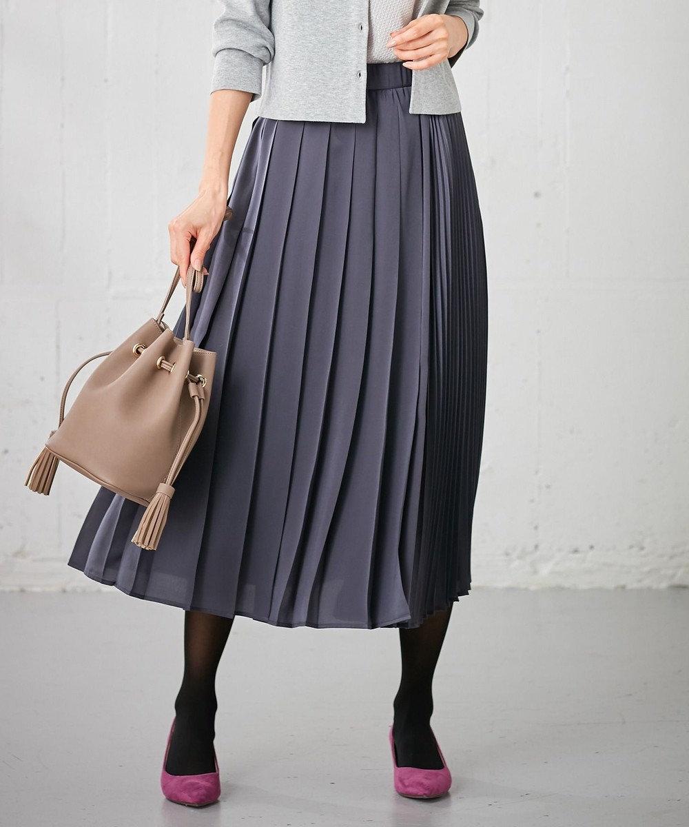 組曲 S 【Oggi掲載】サテンプリーツスカート グレー系