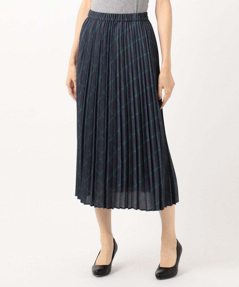 組曲 L 【洗える】MOON CHECK PRINT プリーツスカート ネイビー系3