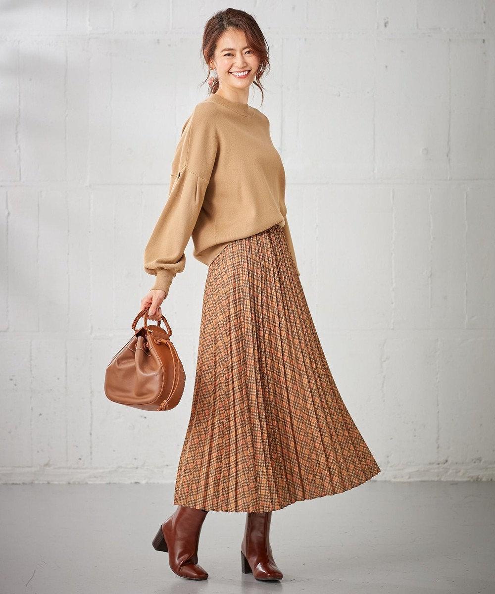 組曲 L 【洗える】MOON CHECK PRINT プリーツスカート キャメル系3