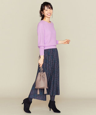 組曲 L 【洗える】MOON CHECK PRINT プリーツスカート パープル系3