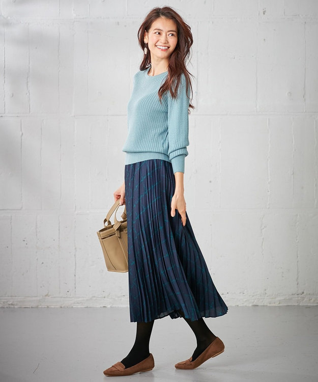 組曲 L 【洗える】MOON CHECK PRINT プリーツスカート