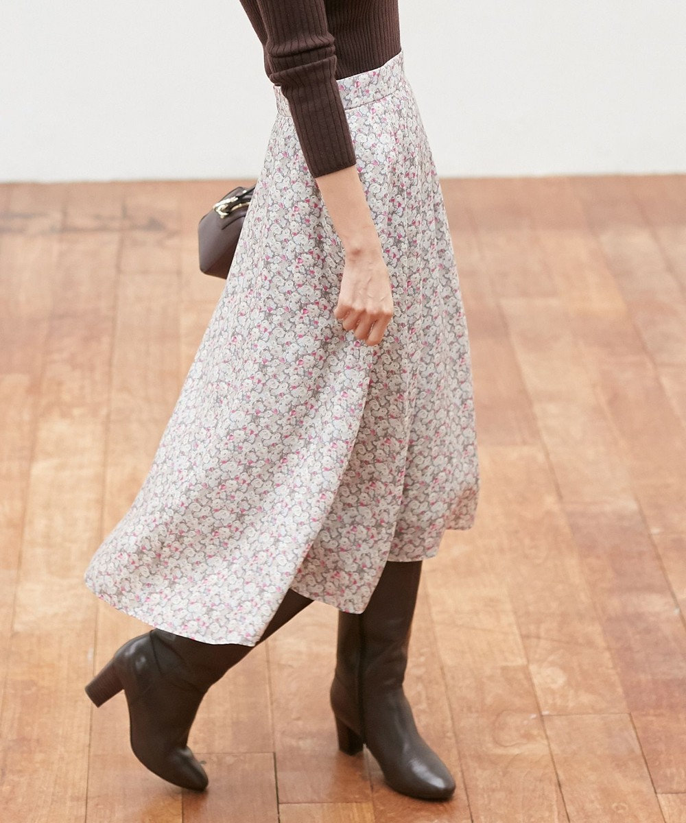 組曲 L 【10周年WEB限定】Archive Fleur with LIBERTY スカート 【WEB限定】グレー系