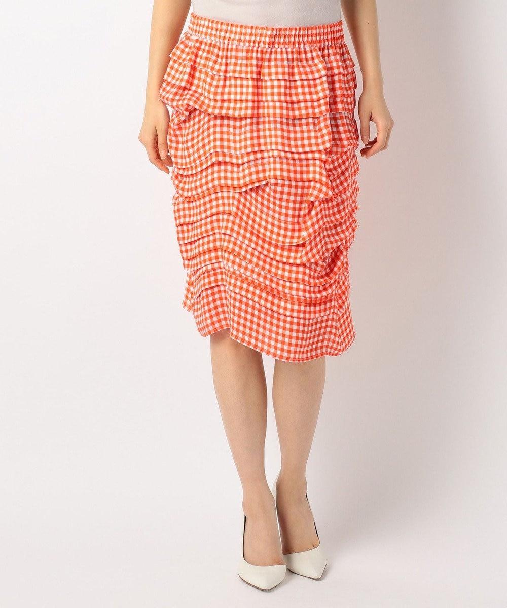 CK CALVIN KLEIN WOMEN 【ギンガムチェック】ギンガムプリンテッドシルク スカート オレンジ系4