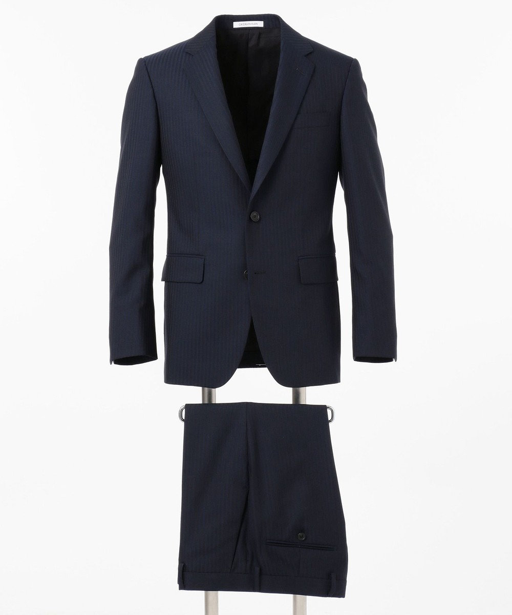 CK CALVIN KLEIN MEN シルキーシャドウストライプ スーツ ネイビー系1