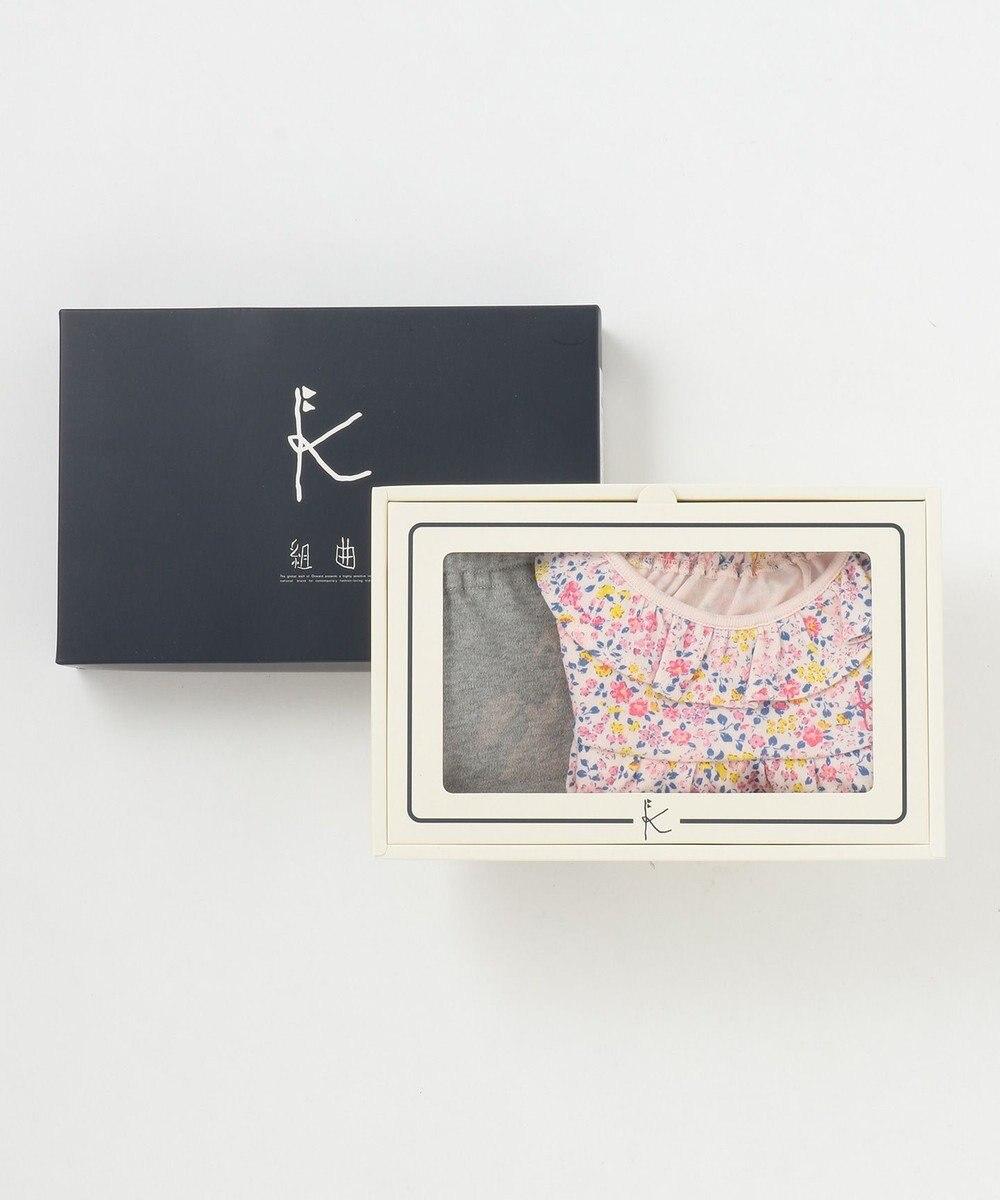 組曲 KIDS 【80~90cm】フラワープリント ギフトBOX (2点セット) ピンク系5