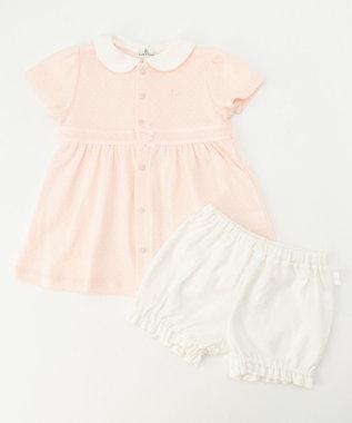 組曲 KIDS 【80-90cm】スムースドット ワンピース+ブルマ ピンク系5