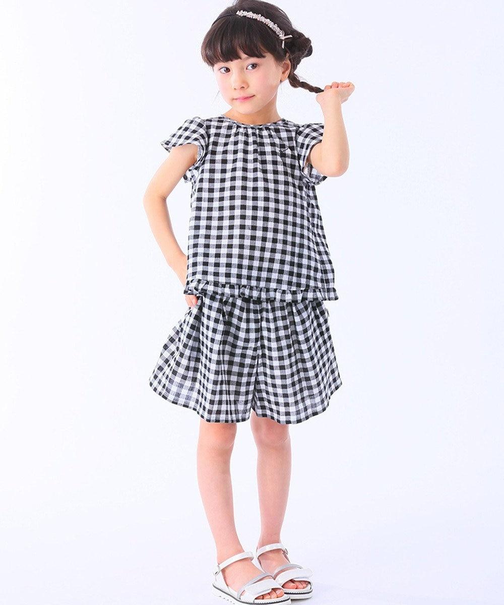 組曲 KIDS 【150~170cm】コットン楊柳ギンガムチェック セットアップ ブラック系3