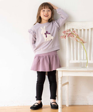 any FAM KIDS 【140-150cm】裏毛起毛ふわふわモチーフ トレーナー ラベンダー(ウサギ)