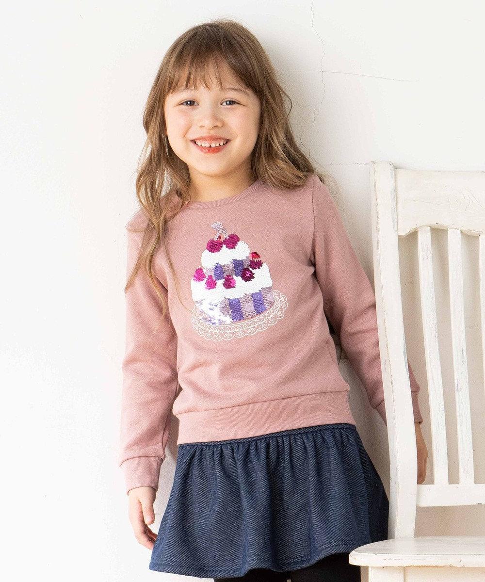 any FAM KIDS 【140-150cm】ミラクルスパンコール 裏毛トレーナー ピンク系