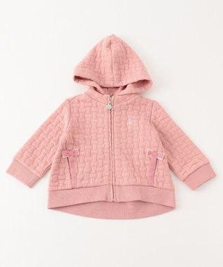 組曲 KIDS 【BABY】スクエアーチェックJQ パーカー ローズ系