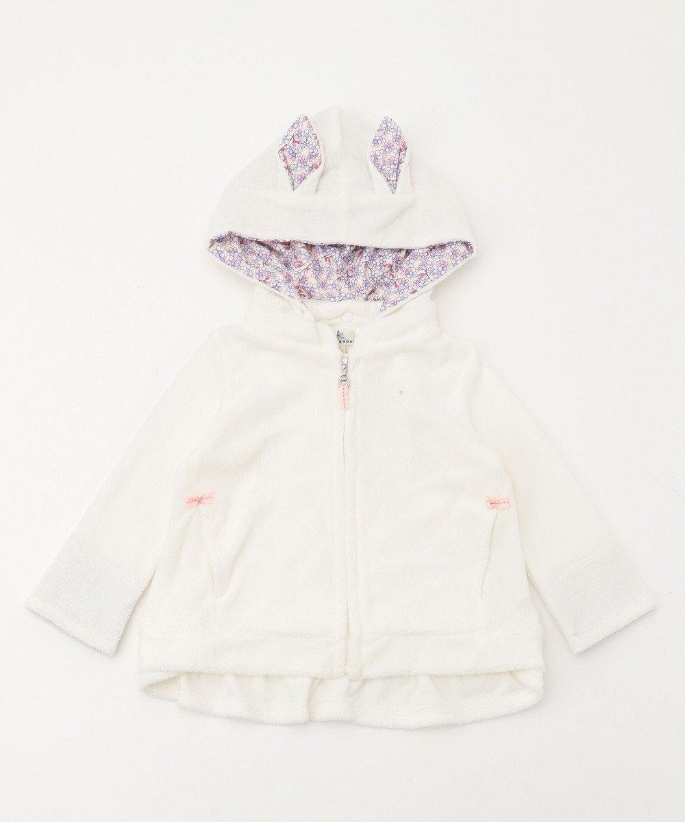組曲 KIDS 【BABY】パイル×ラパンフラワーPt パーカー アイボリー系
