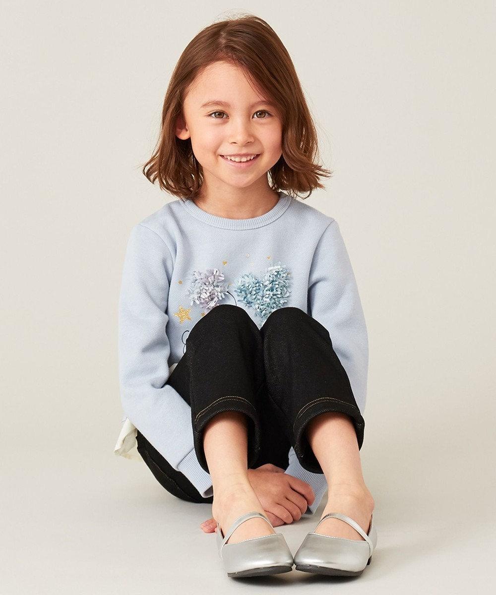 組曲 KIDS 【100-140cm】AC裏毛フリルトレーナー サックスブルー系