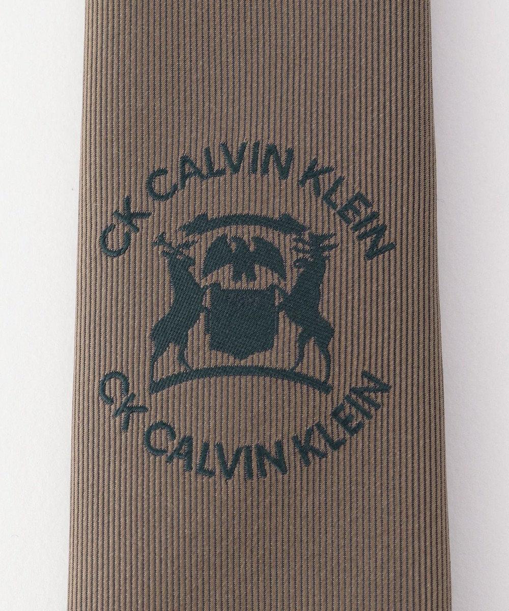 CK CALVIN KLEIN MEN シルクエンブレムロゴ ネクタイ ブラウン系5