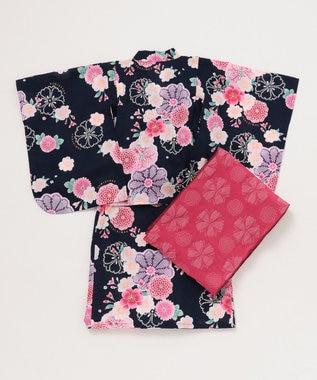 組曲 KIDS 【KIDS雑貨】万寿菊と桜 浴衣 ネイビー系5