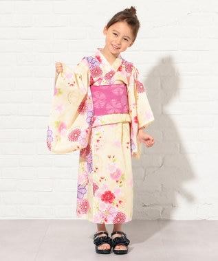 組曲 KIDS 【KIDS雑貨】万寿菊と桜 浴衣 アイボリー系5