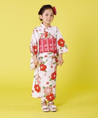組曲 KIDS 【SCHOOL】つばきとうめ 浴衣 レッド系