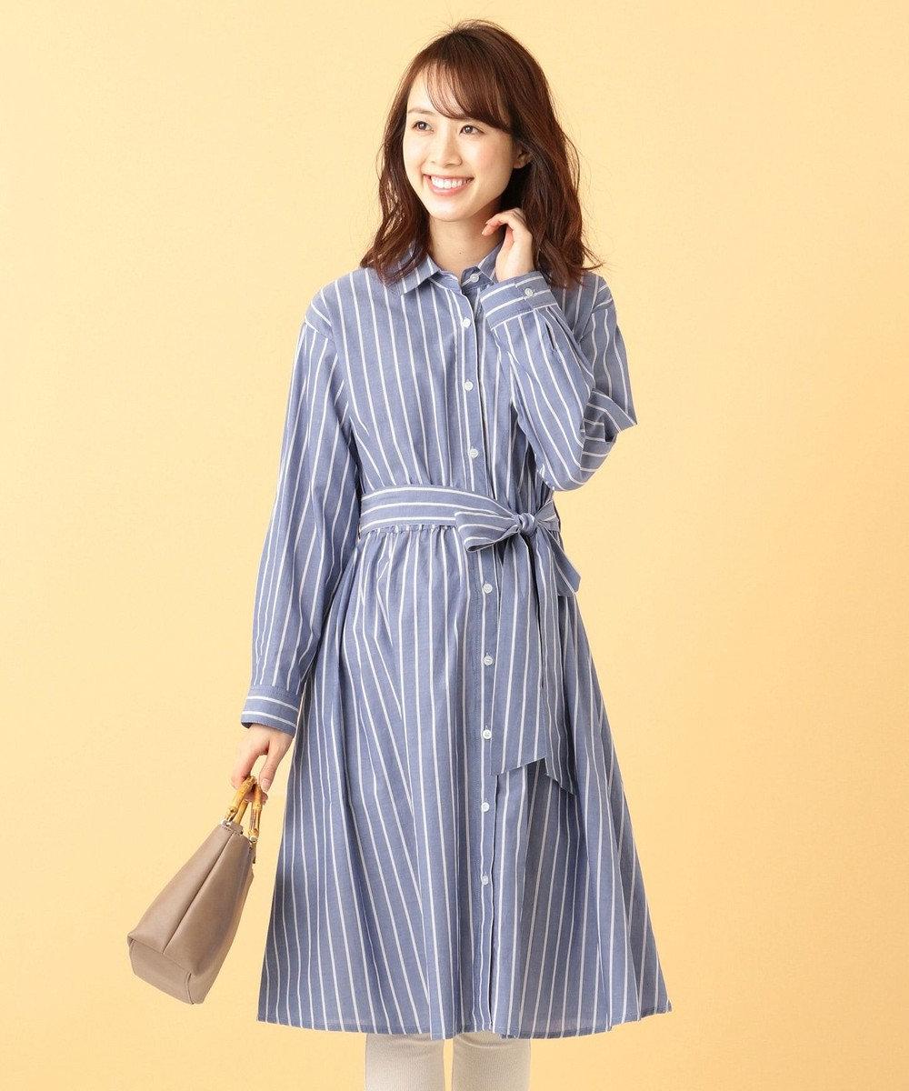 any FAM 【授乳しやすい!】ギンガム/ストライプ シャツワンピース サックスブルー系1