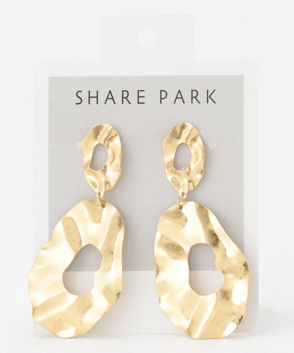 SHARE PARK LADIES メタルグリッターラウンドピアス ゴールド系