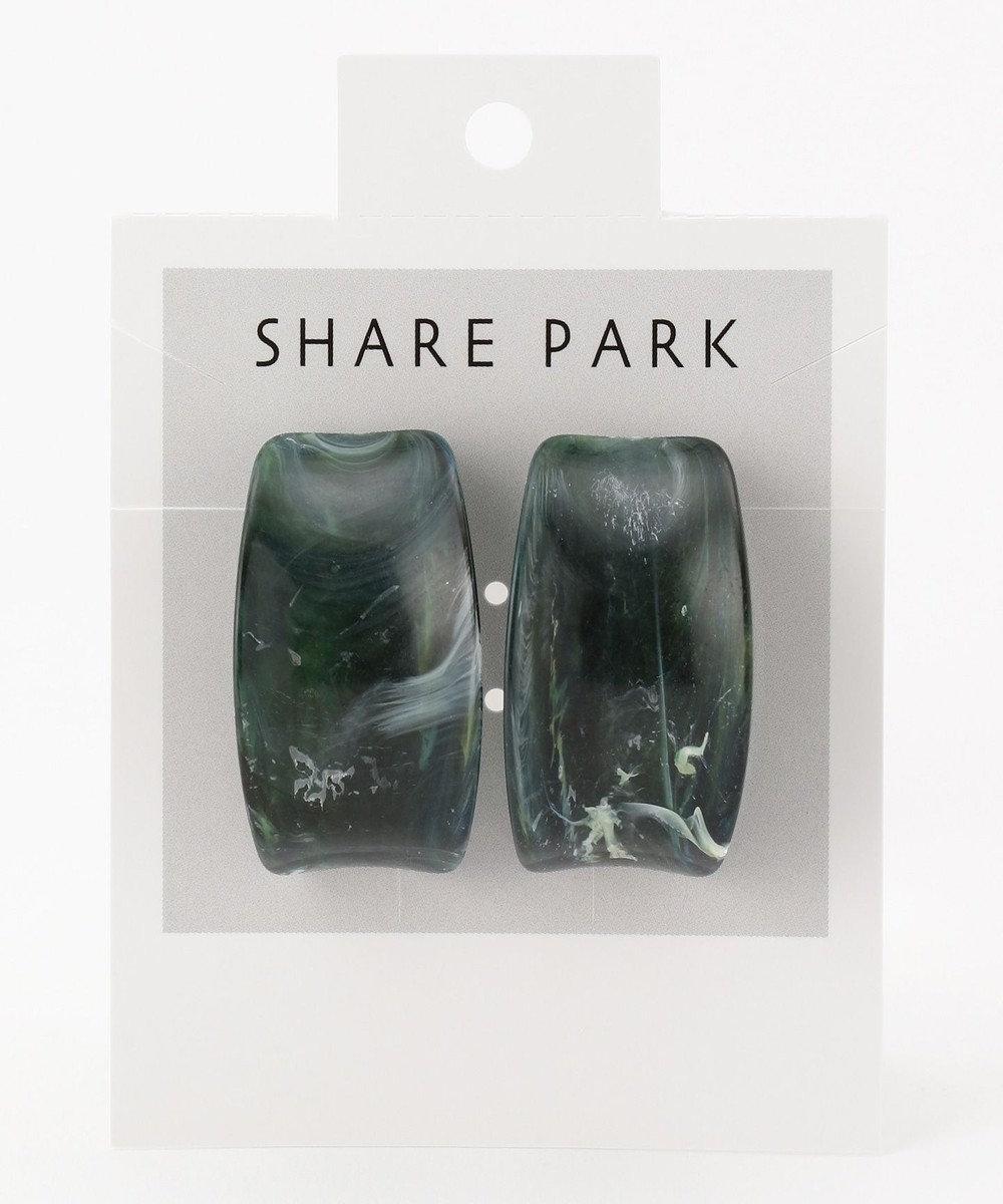 SHARE PARK LADIES レジンカーブピアス グリーン系