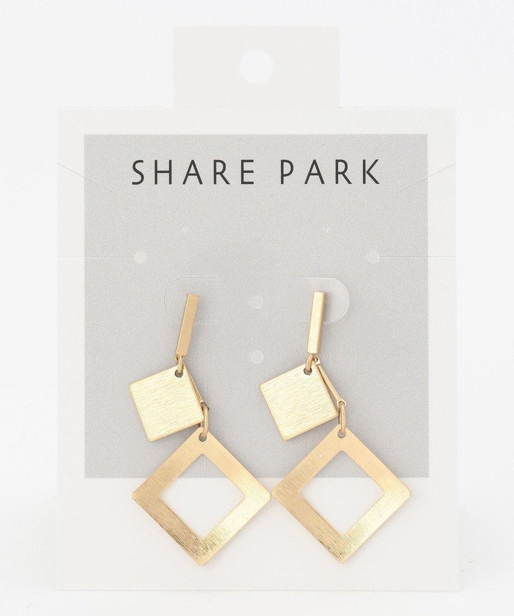 SHARE PARK LADIES スクエアペアピアス ゴールド系