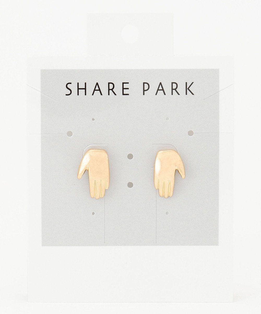 SHARE PARK LADIES メタルハンドピアス ゴールド系
