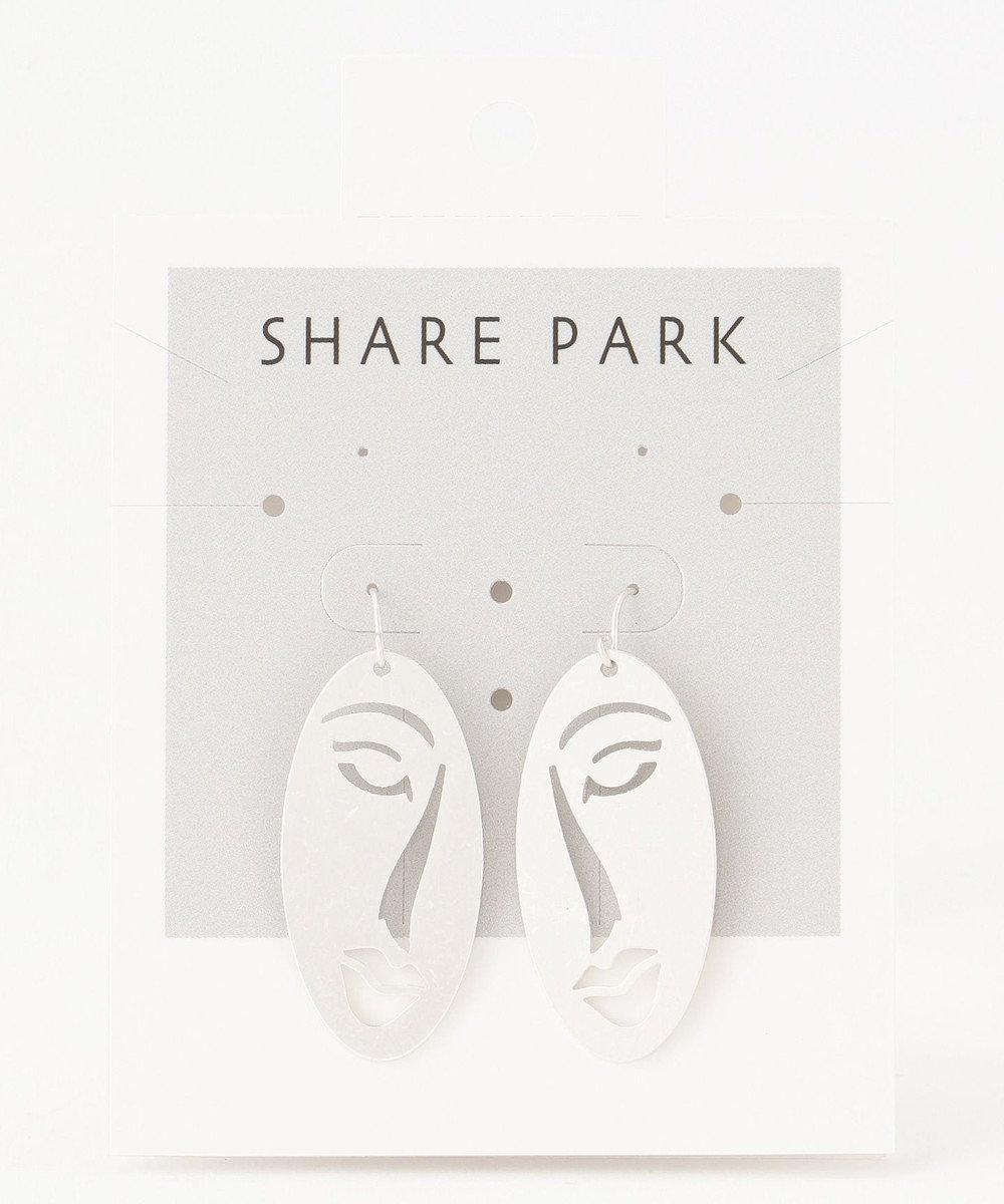 SHARE PARK LADIES ハーフフェイスプレートピアス シルバー系