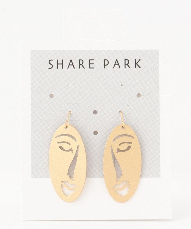 SHARE PARK LADIES ハーフフェイスプレートピアス ゴールド系