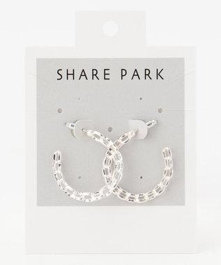 SHARE PARK LADIES メタルチェーンフープピアス シルバー系