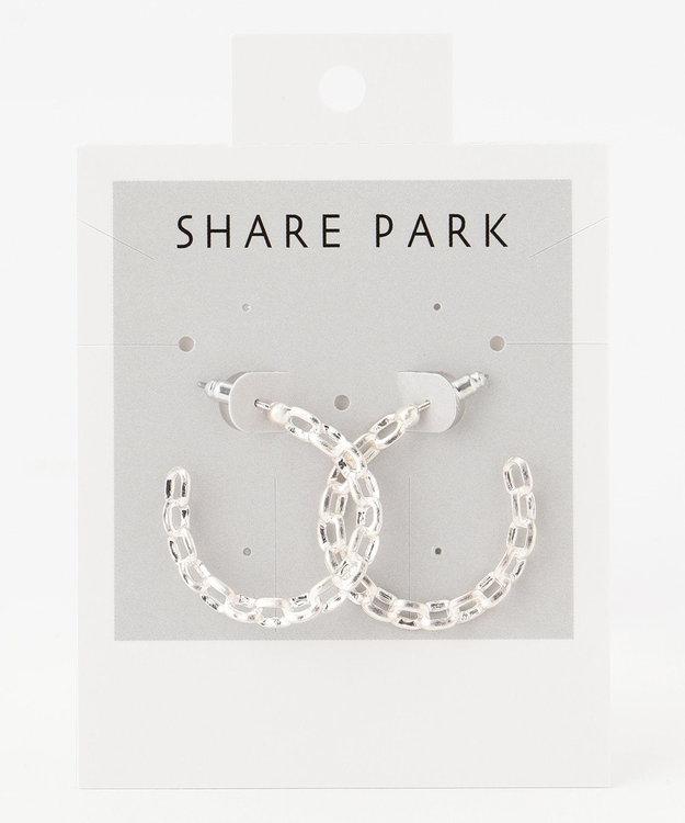 SHARE PARK LADIES メタルチェーンフープピアス