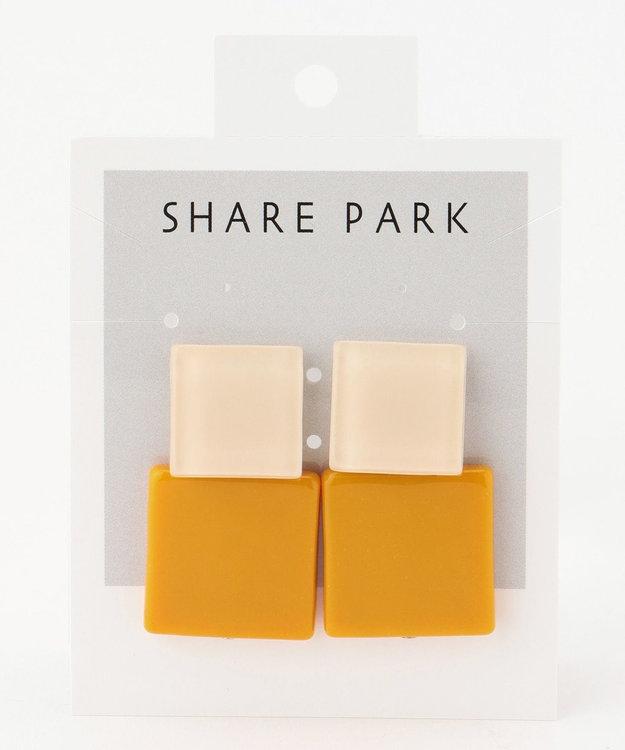 SHARE PARK LADIES クリアカラーダブルスクエアピアス