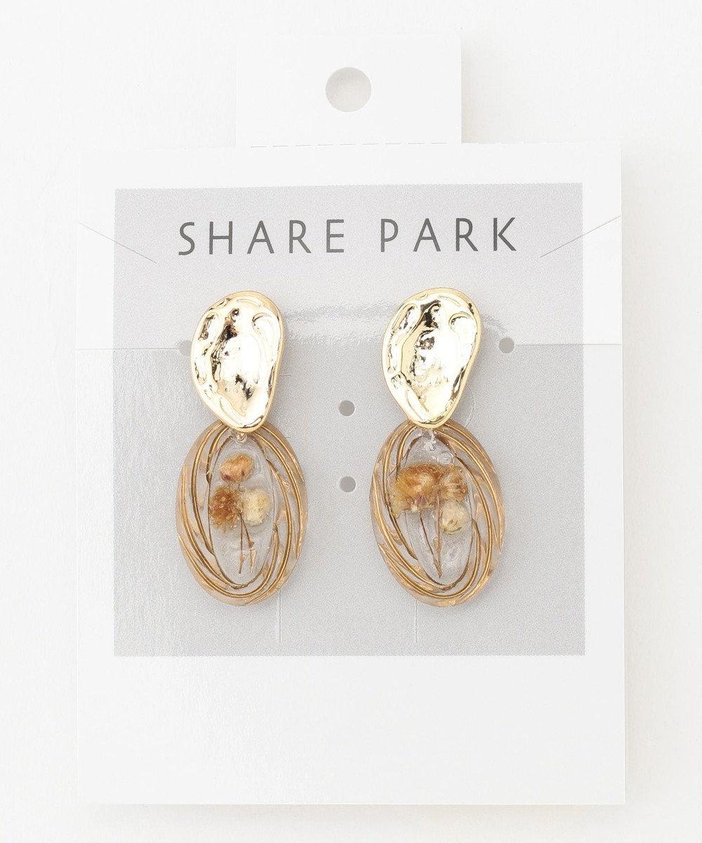 SHARE PARK LADIES インナーフラワーピアス ホワイト系