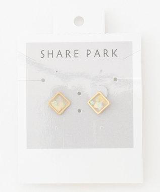 SHARE PARK LADIES フレームミニスクエアピアス ホワイト系