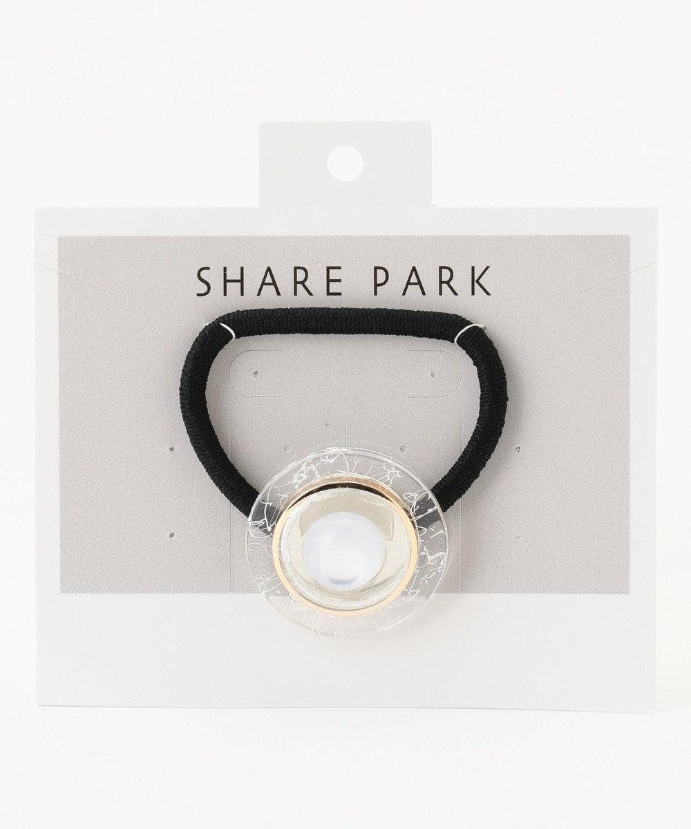 SHARE PARK LADIES ボタンヘアゴム ホワイト系1