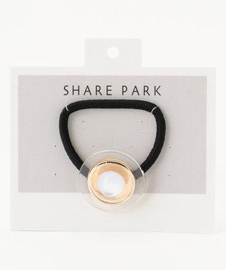 SHARE PARK LADIES ボタンヘアゴム ホワイト系