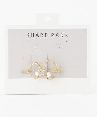 SHARE PARK LADIES パールスクエアバレッタ1 ゴールド系