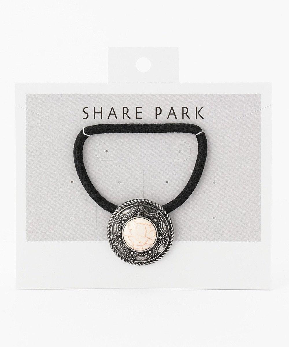 SHARE PARK LADIES ダブルサークルヘアゴム ホワイト系