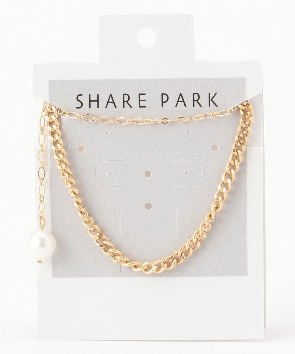 SHARE PARK LADIES クラッシュチェーンネックレス ゴールド系