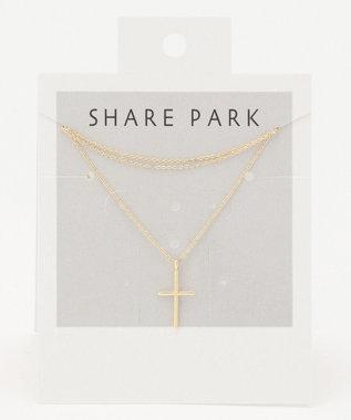 SHARE PARK LADIES クロスネックレス ゴールド系
