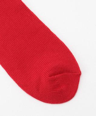 SHARE PARK MENS 〈UNIVERSAL OVERALL〉リブLOGO刺繍クルーソックス レッド系