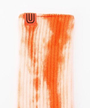 SHARE PARK MENS 〈UNIVERSAL OVERALL〉むら染めリブクルーソックス オレンジ系